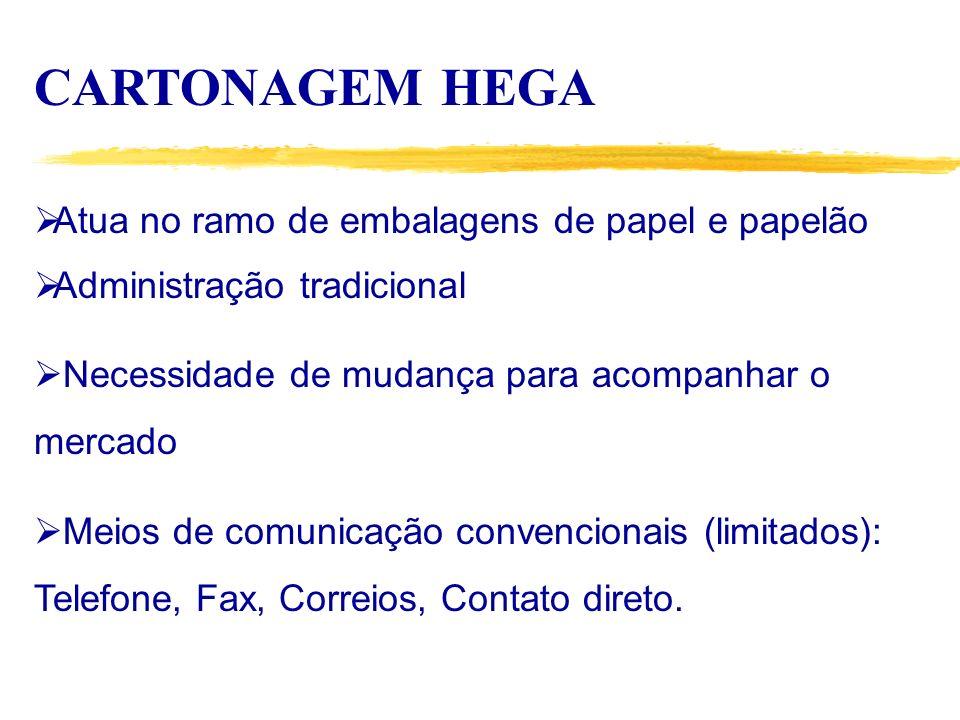 CARTONAGEM HEGA Atua no ramo de embalagens de papel e papelão Administração tradicional Necessidade de mudança para acompanhar o mercado Meios de comunicação convencionais (limitados): Telefone, Fax, Correios, Contato direto.