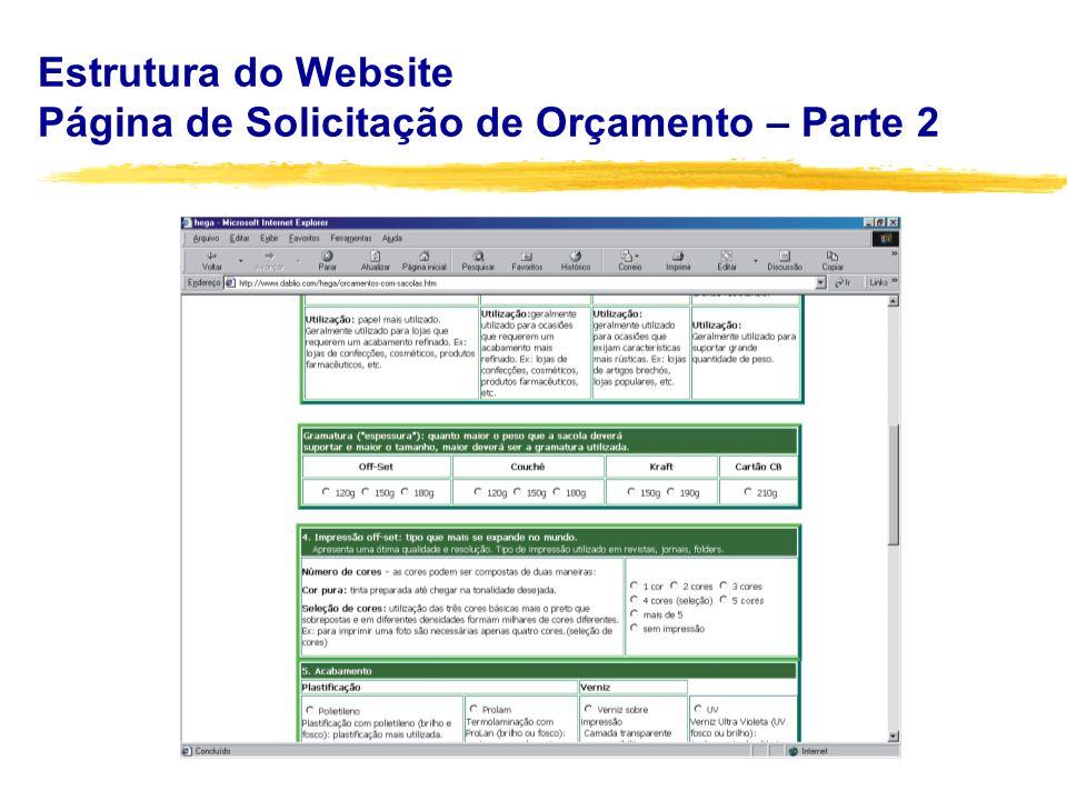 Estrutura do Website Página de Solicitação de Orçamento – Parte 2