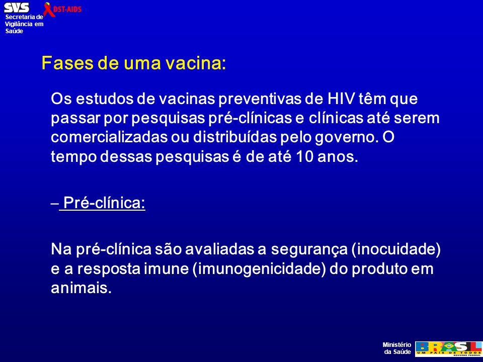Ministério da Saúde Secretaria de Vigilância em Saúde Fases de uma vacina: Os estudos de vacinas preventivas de HIV têm que passar por pesquisas pré-clínicas e clínicas até serem comercializadas ou distribuídas pelo governo.