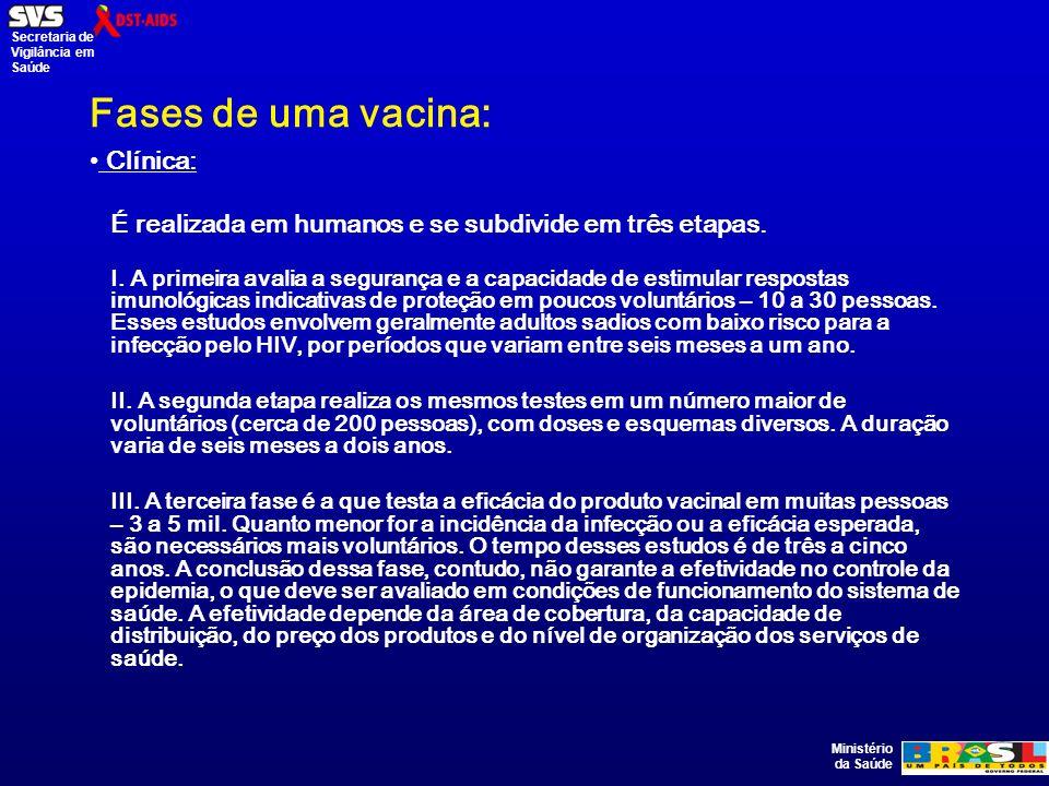 Ministério da Saúde Secretaria de Vigilância em Saúde Fases de uma vacina: Clínica: É realizada em humanos e se subdivide em três etapas.