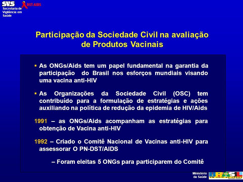 Ministério da Saúde Secretaria de Vigilância em Saúde Participação da Sociedade Civil na avaliação de Produtos Vacinais As ONGs/Aids tem um papel fundamental na garantia da participação do Brasil nos esforços mundiais visando uma vacina anti-HIV As Organizações da Sociedade Civil (OSC) tem contribuído para a formulação de estratégias e ações auxiliando na política de redução da epidemia de HIV/Aids 1991 – as ONGs/Aids acompanham as estratégias para obtenção de Vacina anti-HIV 1992 – Criado o Comitê Nacional de Vacinas anti-HIV para assessorar O PN-DST/AIDS – Foram eleitas 5 ONGs para participarem do Comitê