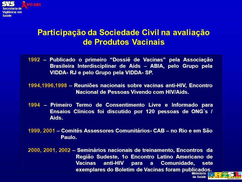 Ministério da Saúde Secretaria de Vigilância em Saúde Participação da Sociedade Civil na avaliação de Produtos Vacinais 1992 – Publicado o primeiro Dossiê de Vacinas pela Associação Brasileira Interdisciplinar de Aids – ABIA, pelo Grupo pela VIDDA- RJ e pelo Grupo pela VIDDA- SP.