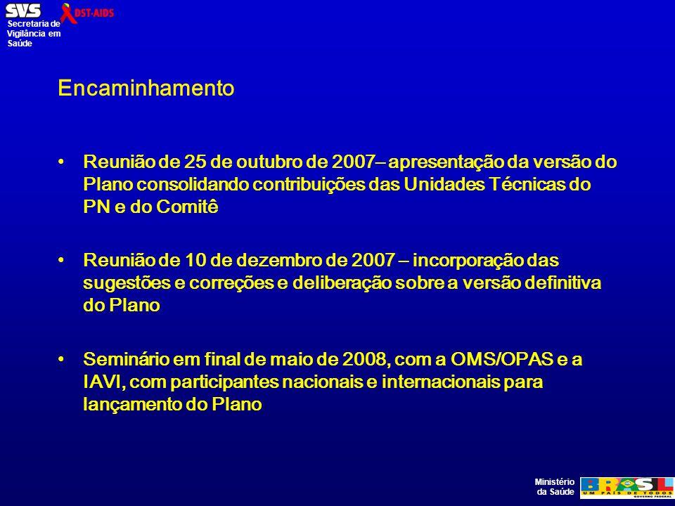 Ministério da Saúde Secretaria de Vigilância em Saúde Encaminhamento Reunião de 25 de outubro de 2007– apresentação da versão do Plano consolidando contribuições das Unidades Técnicas do PN e do Comitê Reunião de 10 de dezembro de 2007 – incorporação das sugestões e correções e deliberação sobre a versão definitiva do Plano Seminário em final de maio de 2008, com a OMS/OPAS e a IAVI, com participantes nacionais e internacionais para lançamento do Plano