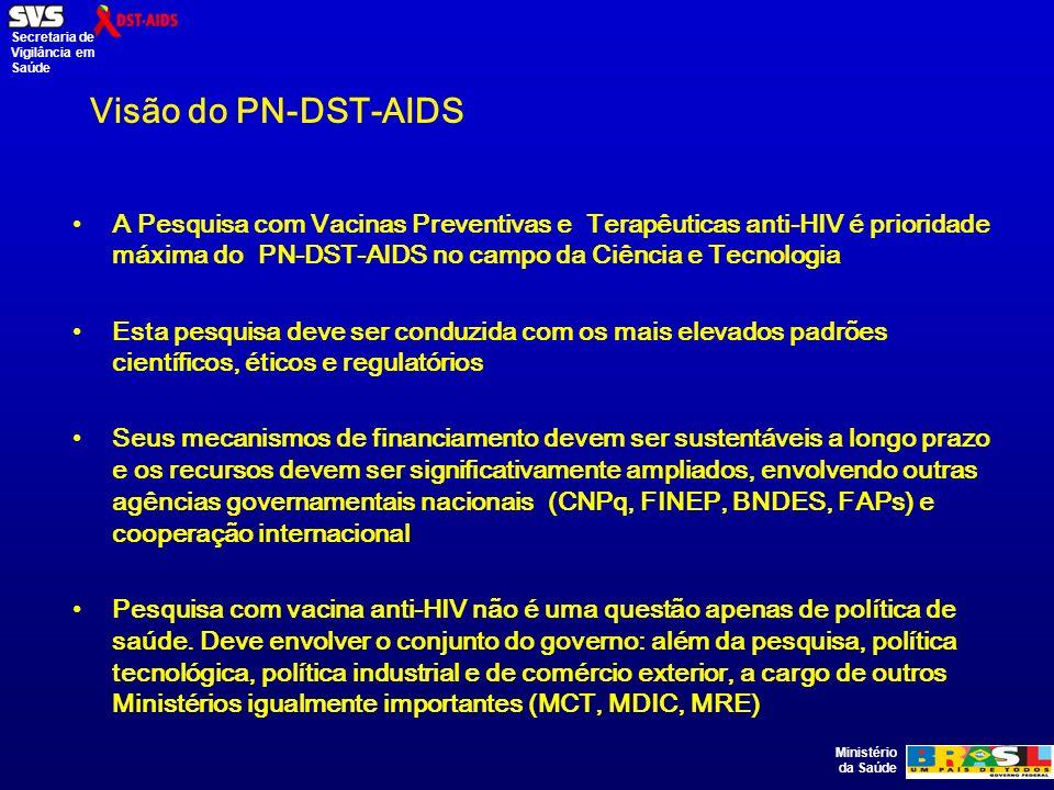 Ministério da Saúde Secretaria de Vigilância em Saúde Visão do PN-DST-AIDS A Pesquisa com Vacinas Preventivas e Terapêuticas anti-HIV é prioridade máxima do PN-DST-AIDS no campo da Ciência e Tecnologia Esta pesquisa deve ser conduzida com os mais elevados padrões científicos, éticos e regulatórios Seus mecanismos de financiamento devem ser sustentáveis a longo prazo e os recursos devem ser significativamente ampliados, envolvendo outras agências governamentais nacionais (CNPq, FINEP, BNDES, FAPs) e cooperação internacional Pesquisa com vacina anti-HIV não é uma questão apenas de política de saúde.