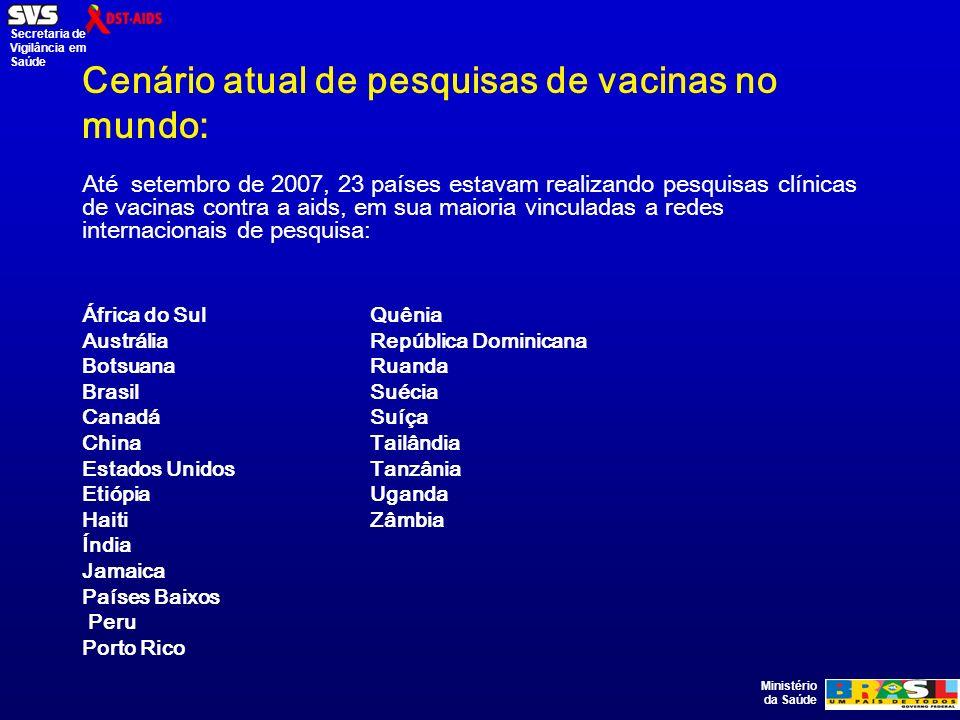 Ministério da Saúde Secretaria de Vigilância em Saúde Cenário atual de pesquisas de vacinas no mundo: Até setembro de 2007, 23 países estavam realizando pesquisas clínicas de vacinas contra a aids, em sua maioria vinculadas a redes internacionais de pesquisa: África do SulQuênia AustráliaRepública Dominicana BotsuanaRuanda BrasilSuécia CanadáSuíça ChinaTailândia Estados UnidosTanzânia EtiópiaUganda HaitiZâmbia Índia Jamaica Países Baixos Peru Porto Rico