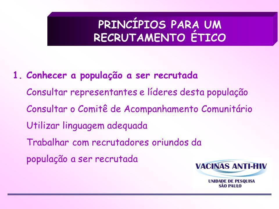 1. Conhecer a população a ser recrutada Consultar representantes e líderes desta população Consultar o Comitê de Acompanhamento Comunitário Utilizar l
