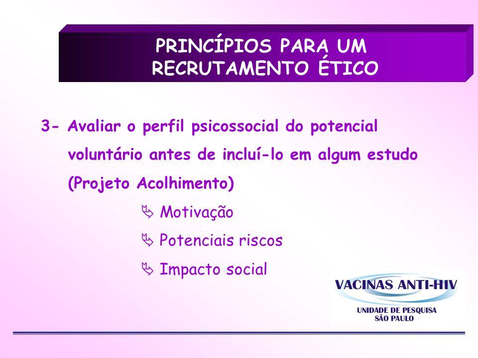 3- Avaliar o perfil psicossocial do potencial voluntário antes de incluí-lo em algum estudo (Projeto Acolhimento) Motivação Potenciais riscos Impacto