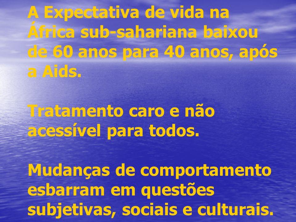 A Expectativa de vida na África sub-sahariana baixou de 60 anos para 40 anos, após a Aids. Tratamento caro e não acessível para todos. Mudanças de com
