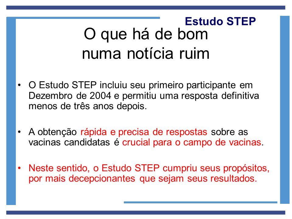 Estudo STEP O que há de bom numa notícia ruim O Estudo STEP incluiu seu primeiro participante em Dezembro de 2004 e permitiu uma resposta definitiva m