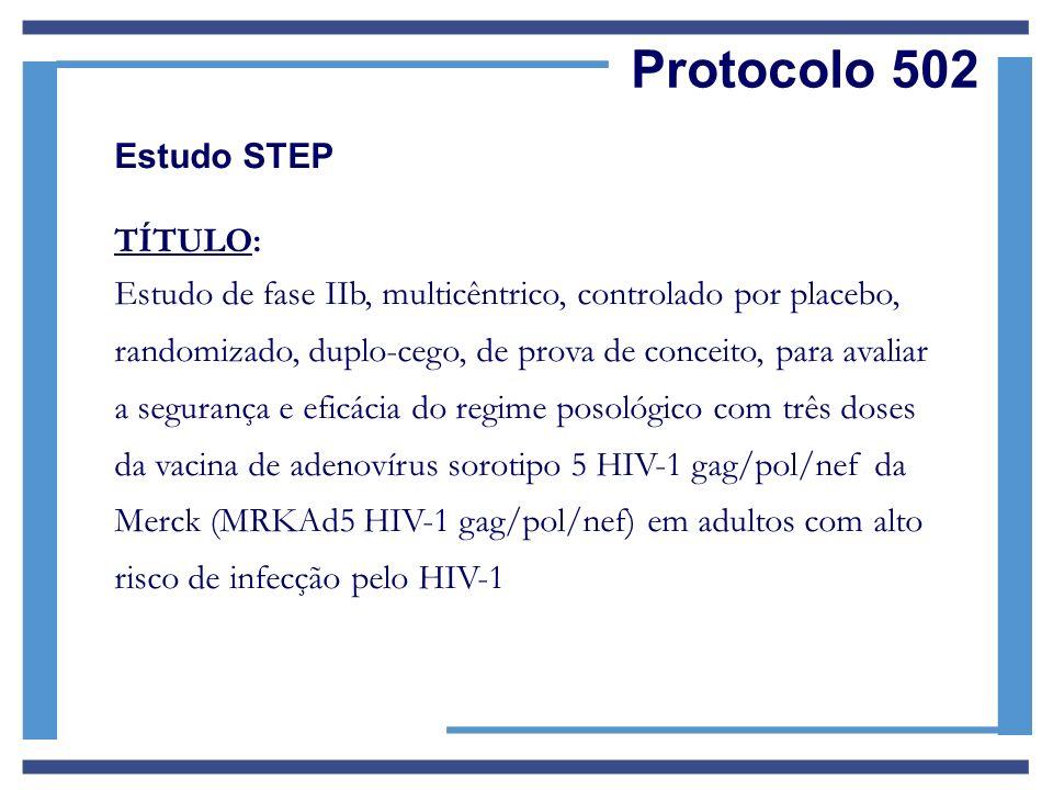 Protocolo 502 Estudo STEP TÍTULO: Estudo de fase IIb, multicêntrico, controlado por placebo, randomizado, duplo-cego, de prova de conceito, para avali