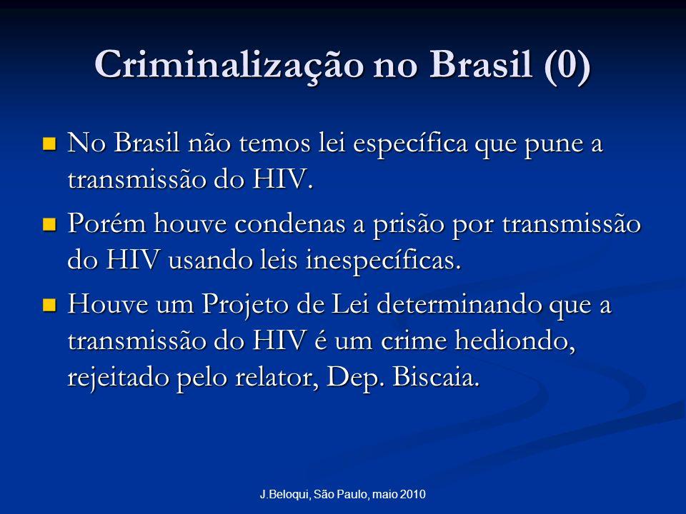 J.Beloqui, São Paulo, maio 2010 Criminalização no Brasil (0) No Brasil não temos lei específica que pune a transmissão do HIV. No Brasil não temos lei