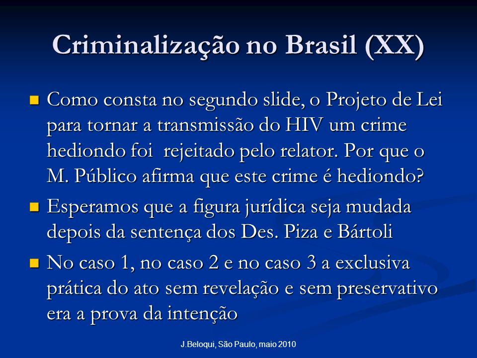Criminalização no Brasil (XX) Como consta no segundo slide, o Projeto de Lei para tornar a transmissão do HIV um crime hediondo foi rejeitado pelo relator.