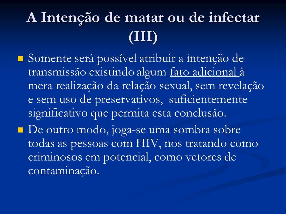 A Intenção de matar ou de infectar (III) Somente será possível atribuir a intenção de transmissão existindo algum fato adicional à mera realização da