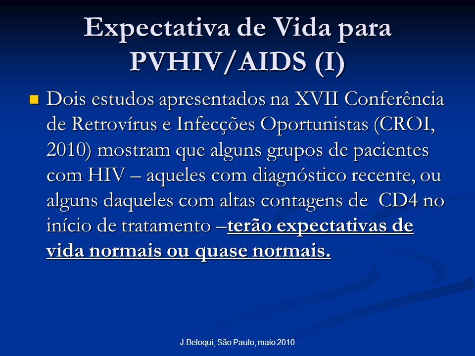 Expectativa de Vida para PVHIV/AIDS (I) Dois estudos apresentados na XVII Conferência de Retrovírus e Infecções Oportunistas (CROI, 2010) mostram que alguns grupos de pacientes com HIV – aqueles com diagnóstico recente, ou alguns daqueles com altas contagens de CD4 no início de tratamento –terão expectativas de vida normais ou quase normais.