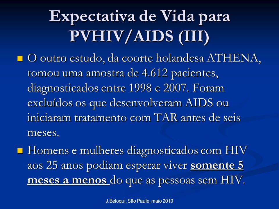 Expectativa de Vida para PVHIV/AIDS (III) O outro estudo, da coorte holandesa ATHENA, tomou uma amostra de 4.612 pacientes, diagnosticados entre 1998