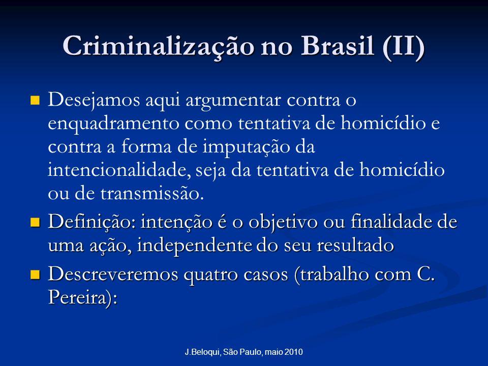 Criminalização no Brasil (II) Desejamos aqui argumentar contra o enquadramento como tentativa de homicídio e contra a forma de imputação da intencionalidade, seja da tentativa de homicídio ou de transmissão.