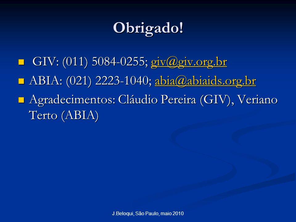 J.Beloqui, São Paulo, maio 2010 Obrigado! GIV: (011) 5084-0255; giv@giv.org.br GIV: (011) 5084-0255; giv@giv.org.brgiv@giv.org.br ABIA: (021) 2223-104