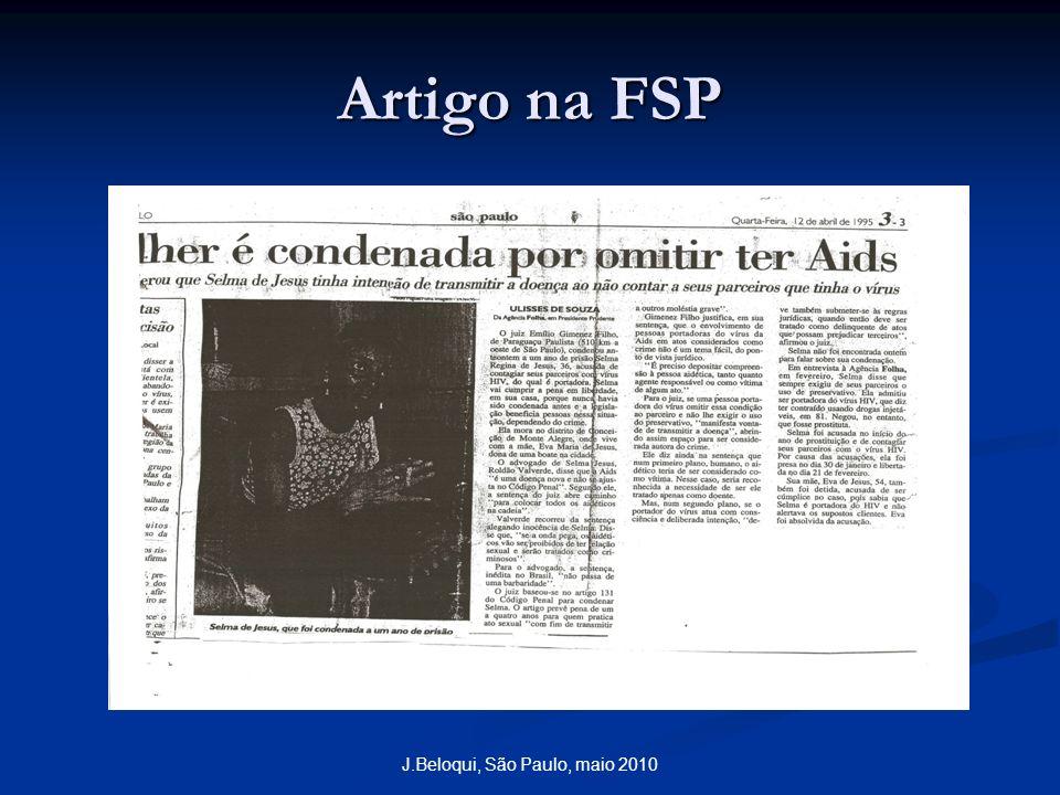 Artigo na FSP J.Beloqui, São Paulo, maio 2010