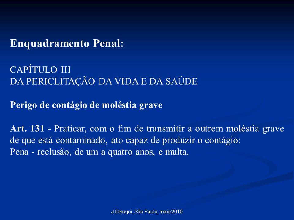 Enquadramento Penal: CAPÍTULO III DA PERICLITAÇÃO DA VIDA E DA SAÚDE Perigo de contágio de moléstia grave Art. 131 - Praticar, com o fim de transmitir