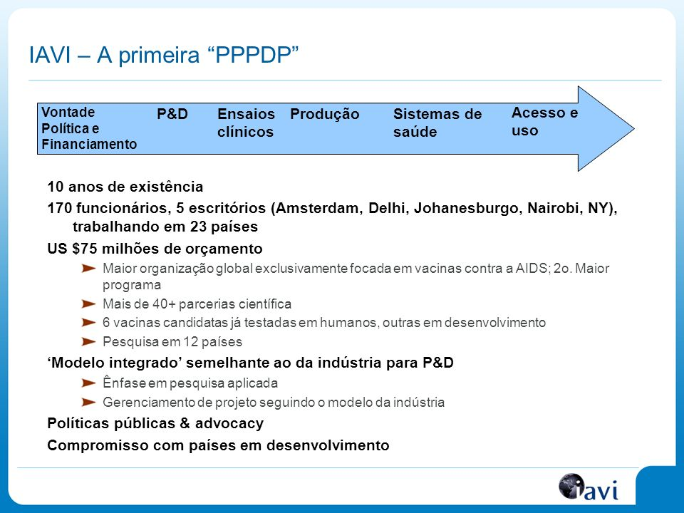 Mais recursos estão sendo investidos Fonte: Note: This slide is based on a 2006 study by the HIV Vaccines and Microbicides Resource Tracking Working Group; the full report is available at: www.hivresourcetracking.org.