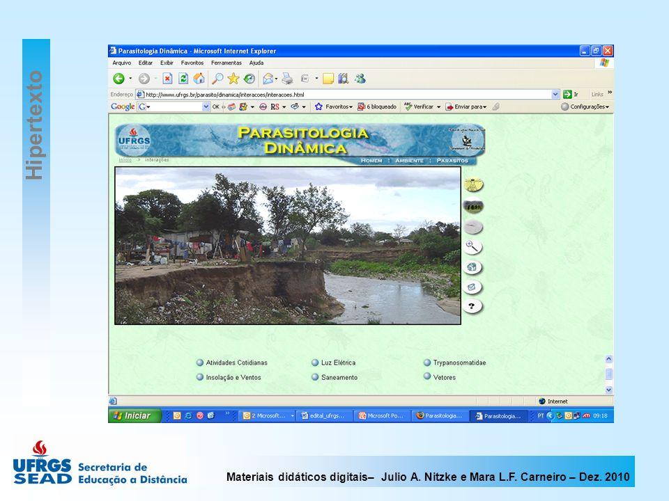 Materiais didáticos digitais– Julio A. Nitzke e Mara L.F. Carneiro – Dez. 2010 Hipertexto