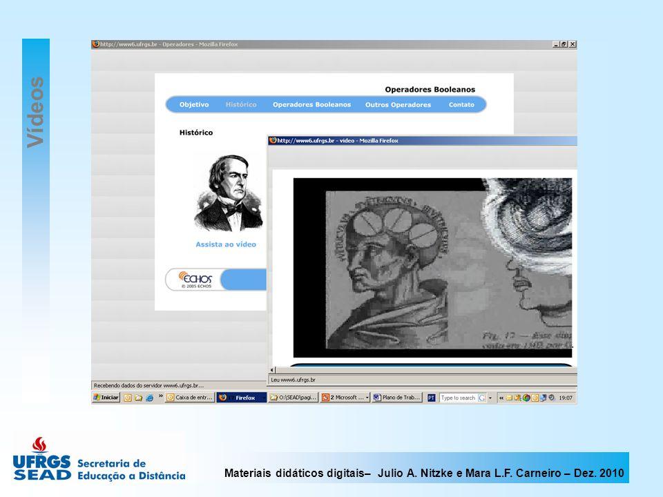Materiais didáticos digitais– Julio A. Nitzke e Mara L.F. Carneiro – Dez. 2010 Vídeos