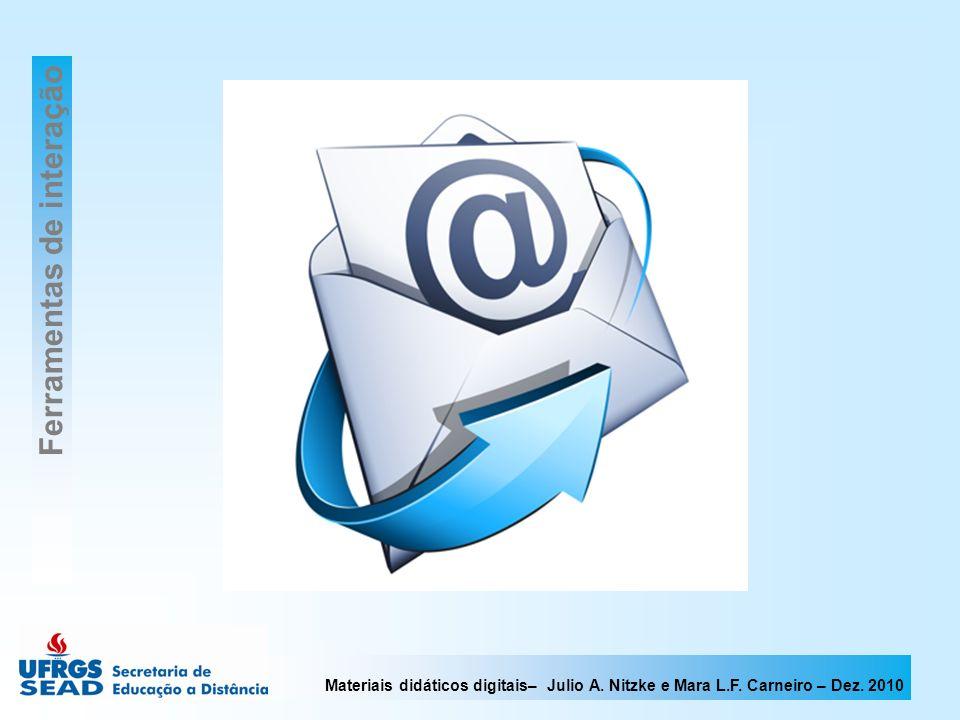 Materiais didáticos digitais– Julio A. Nitzke e Mara L.F. Carneiro – Dez. 2010 Ferramentas de interação
