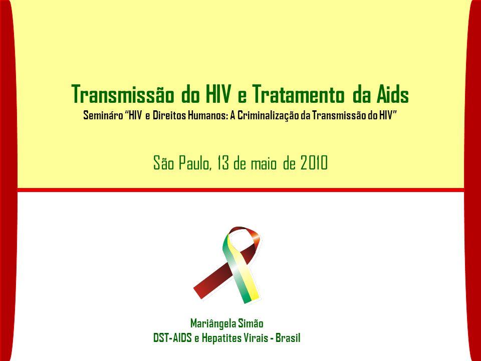 Formas de Transmissão do HIV Sexual Anal Vaginal Oral Sanguínea Transfusão Sanguínea e de Hemoderivados Compartilhamento de seringas Vertical (materno-infantil) Placentária Aleitamento