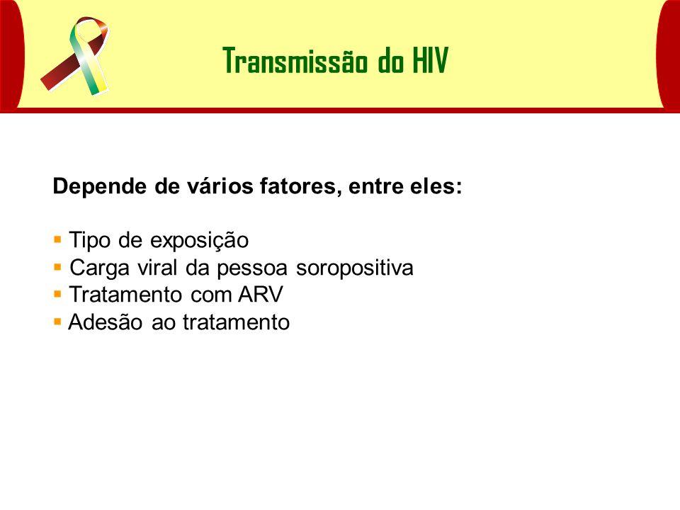 Transmissão do HIV Depende de vários fatores, entre eles: Tipo de exposição Carga viral da pessoa soropositiva Tratamento com ARV Adesão ao tratamento