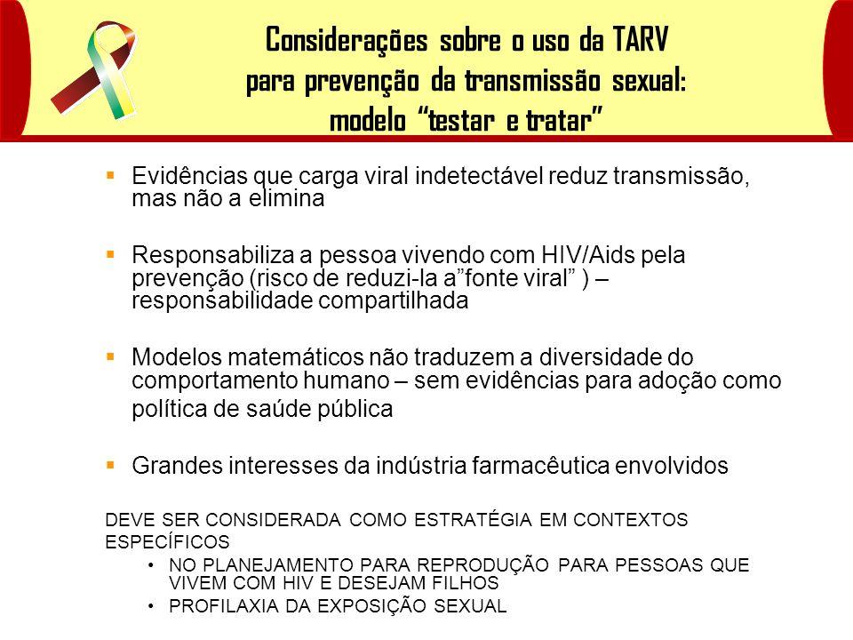 Considerações sobre o uso da TARV para prevenção da transmissão sexual: modelo testar e tratar Evidências que carga viral indetectável reduz transmiss