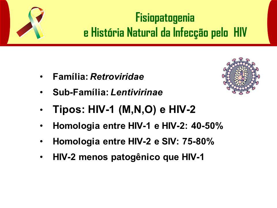 Fisiopatogenia e História Natural da Infecção pelo HIV Taxonomia do HIV Família: Retroviridae Sub-Família: Lentivirinae Tipos: HIV-1 (M,N,O) e HIV-2 H