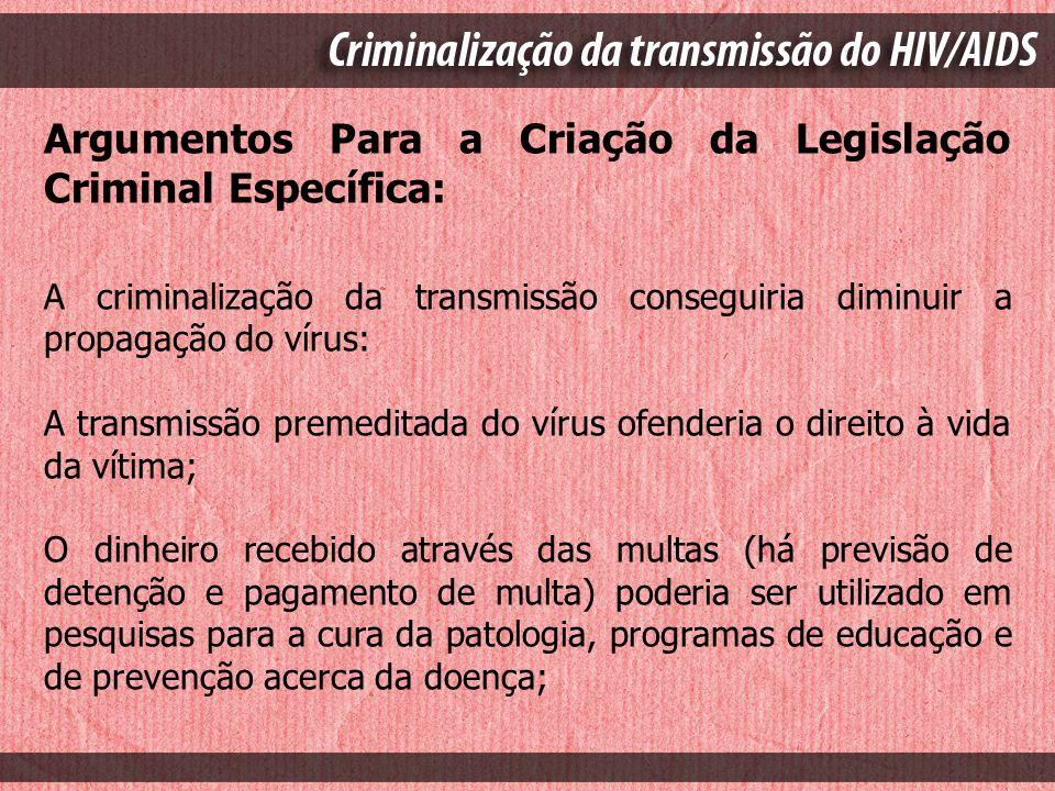 Argumentos Para a Criação da Legislação Criminal Específica: A criminalização da transmissão conseguiria diminuir a propagação do vírus: A transmissão