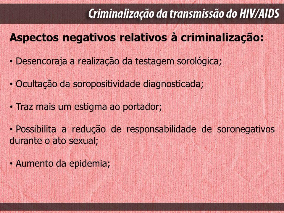 Aspectos negativos relativos à criminalização: Desencoraja a realização da testagem sorológica; Ocultação da soropositividade diagnosticada; Traz mais