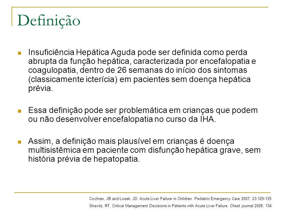 Definição Insuficiência Hepática pode ser classificada em aguda (< 4 semanas) ou subaguda (4 semanas a 6 meses).
