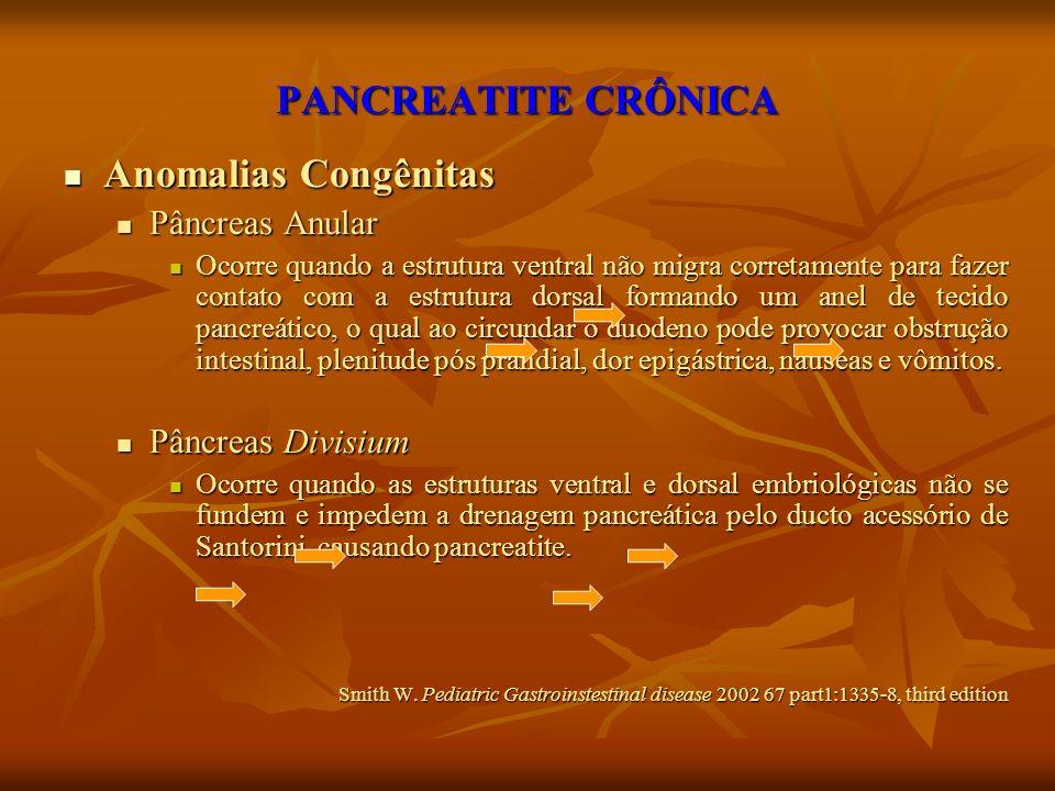 PANCREATITE CRÔNICA Anomalias Congênitas Anomalias Congênitas Pâncreas Anular Pâncreas Anular Ocorre quando a estrutura ventral não migra corretamente