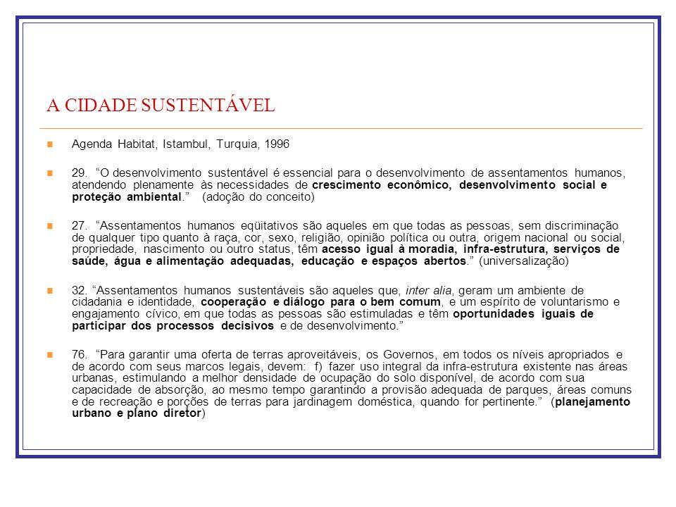 A CIDADE SUSTENTÁVEL Agenda Habitat, Istambul, Turquia, 1996 29. O desenvolvimento sustentável é essencial para o desenvolvimento de assentamentos hum