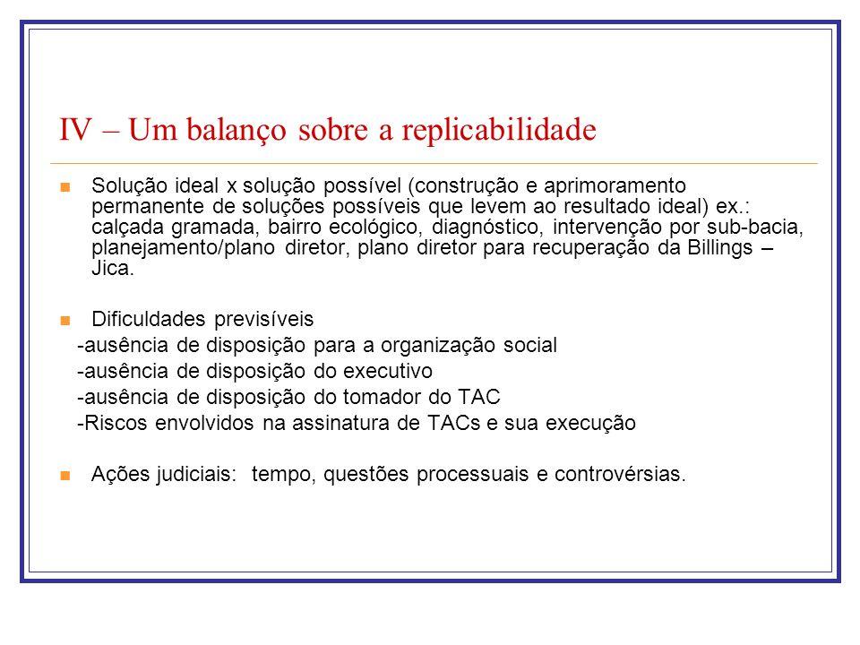 IV – Um balanço sobre a replicabilidade Solução ideal x solução possível (construção e aprimoramento permanente de soluções possíveis que levem ao res