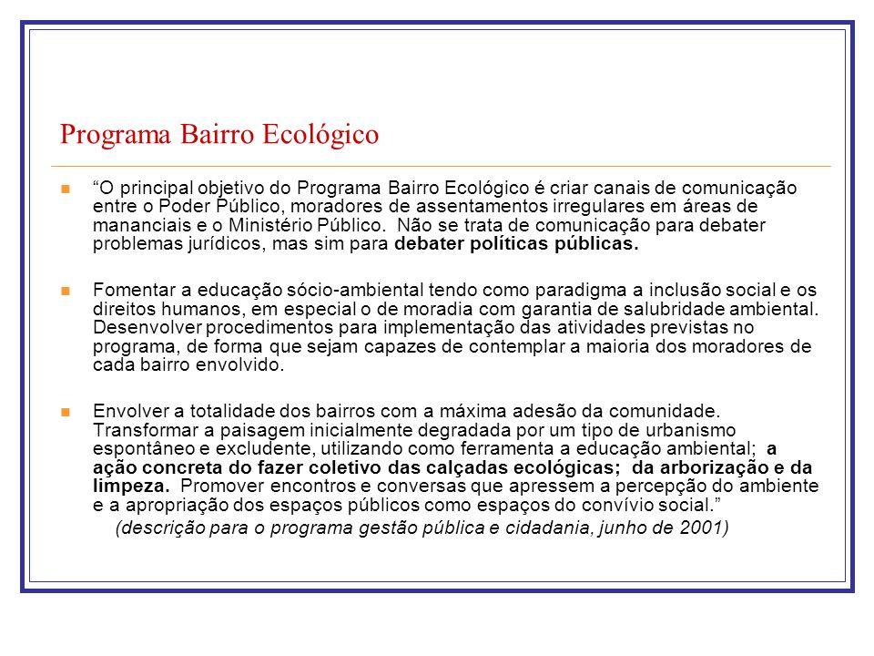 Programa Bairro Ecológico O principal objetivo do Programa Bairro Ecológico é criar canais de comunicação entre o Poder Público, moradores de assentamentos irregulares em áreas de mananciais e o Ministério Público.
