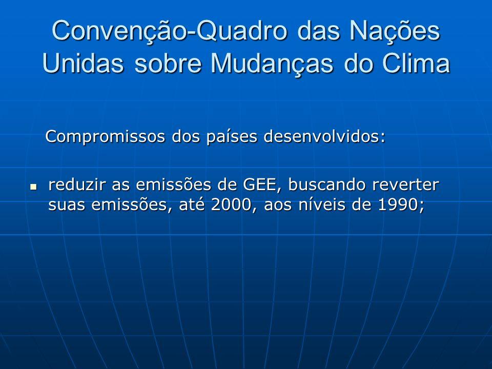 Convenção-Quadro das Nações Unidas sobre Mudanças do Clima Compromissos dos países desenvolvidos: Compromissos dos países desenvolvidos: reduzir as em