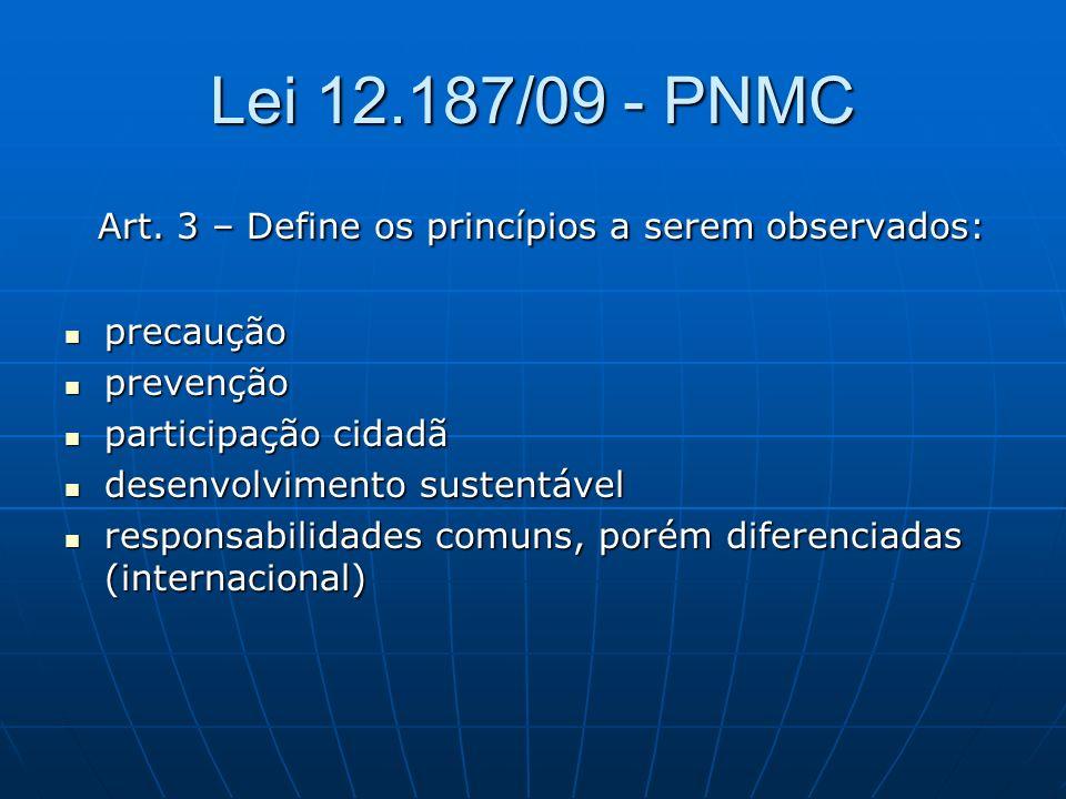Lei 12.187/09 - PNMC Art. 3 – Define os princípios a serem observados: Art. 3 – Define os princípios a serem observados: precaução precaução prevenção