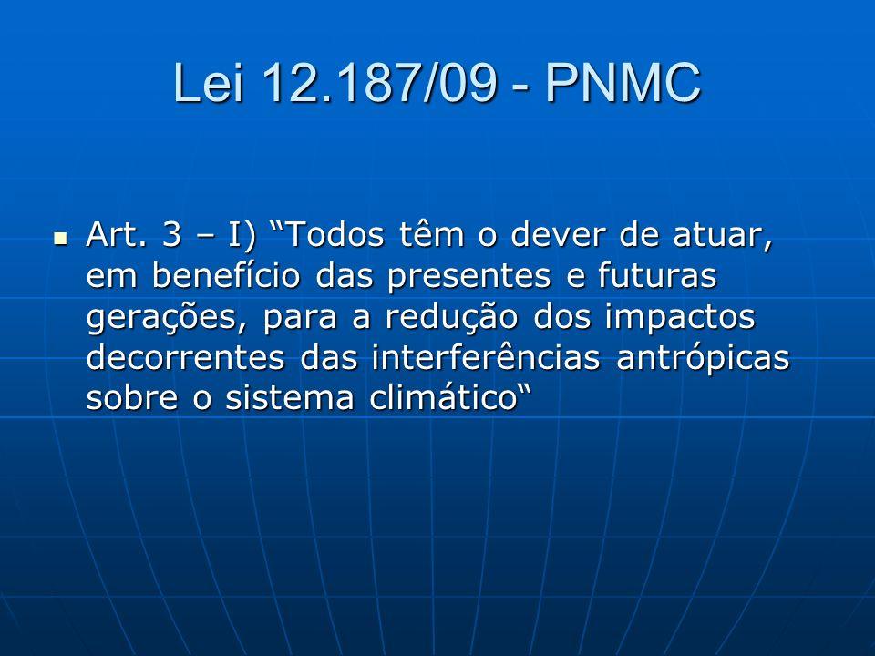 Lei 12.187/09 - PNMC Art. 3 – I) Todos têm o dever de atuar, em benefício das presentes e futuras gerações, para a redução dos impactos decorrentes da