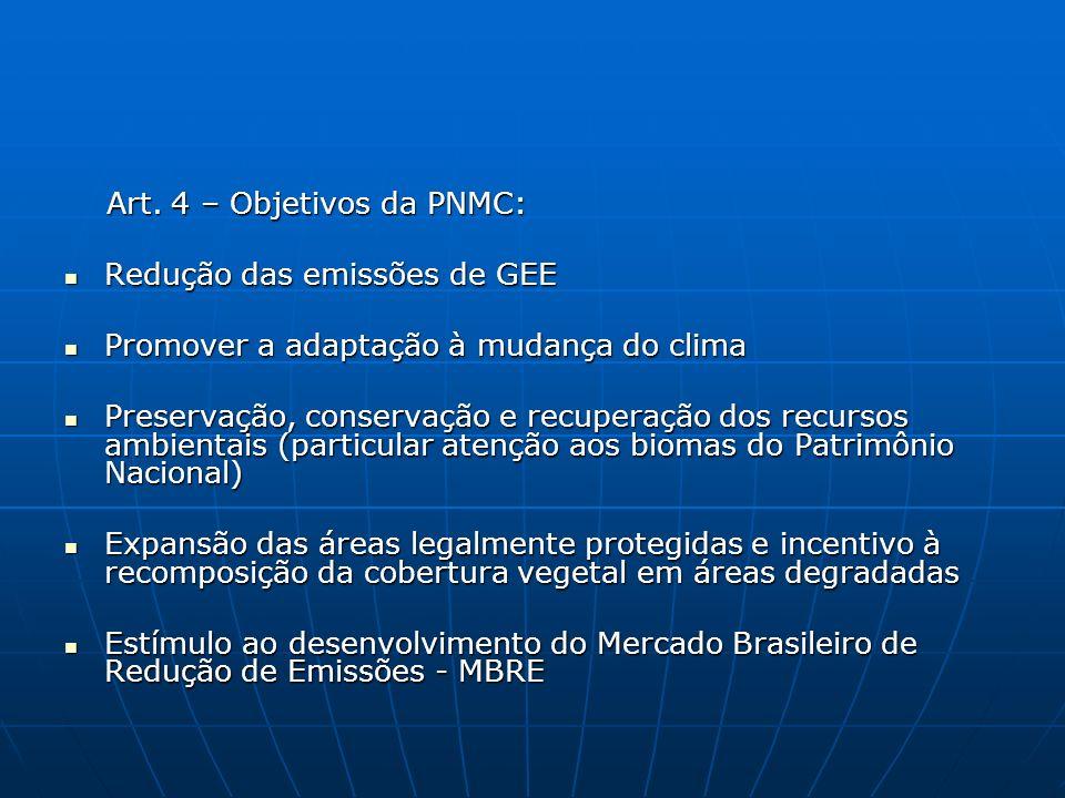 Art. 4 – Objetivos da PNMC: Art. 4 – Objetivos da PNMC: Redução das emissões de GEE Redução das emissões de GEE Promover a adaptação à mudança do clim