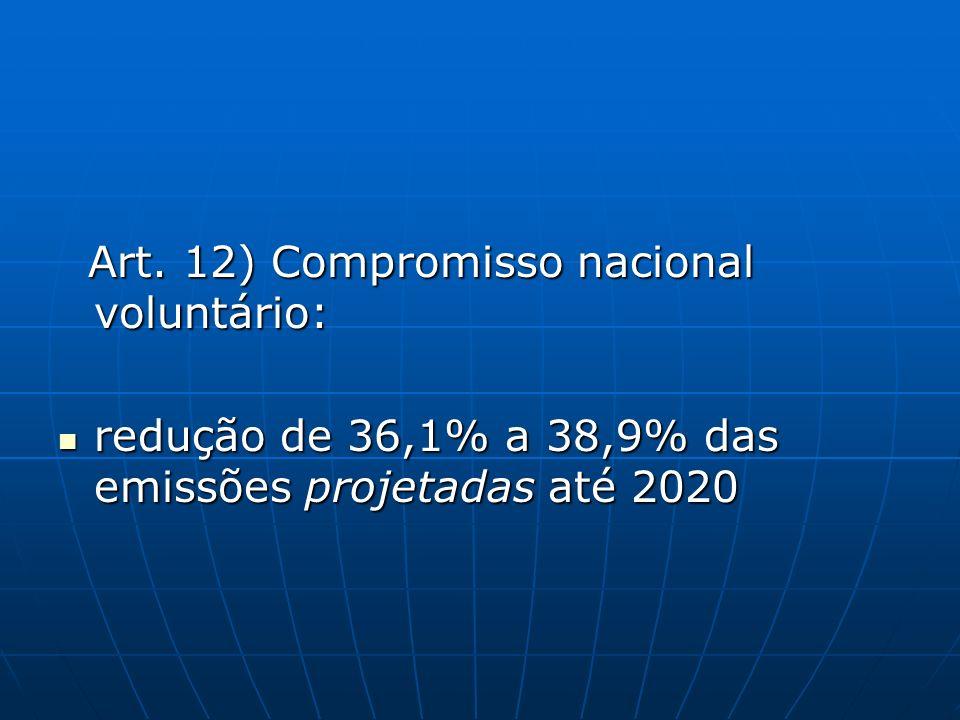 Art. 12) Compromisso nacional voluntário: Art. 12) Compromisso nacional voluntário: redução de 36,1% a 38,9% das emissões projetadas até 2020 redução