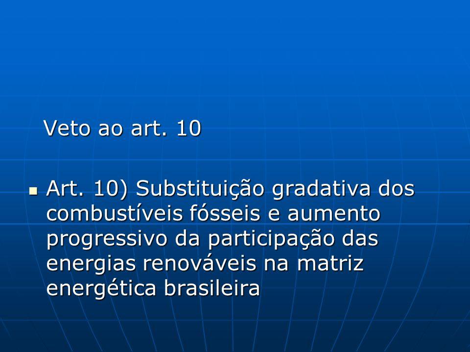 Veto ao art. 10 Veto ao art. 10 Art. 10) Substituição gradativa dos combustíveis fósseis e aumento progressivo da participação das energias renováveis