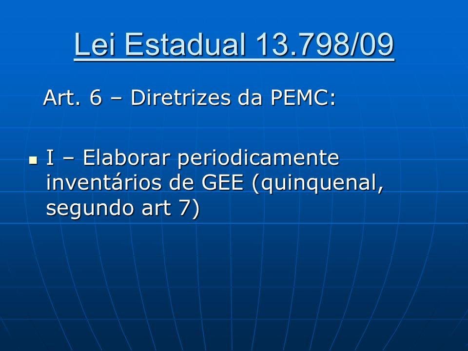 Lei Estadual 13.798/09 Art. 6 – Diretrizes da PEMC: Art. 6 – Diretrizes da PEMC: I – Elaborar periodicamente inventários de GEE (quinquenal, segundo a