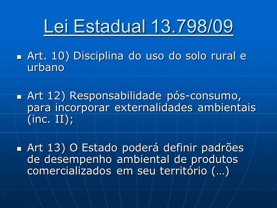 Lei Estadual 13.798/09 Art. 10) Disciplina do uso do solo rural e urbano Art. 10) Disciplina do uso do solo rural e urbano Art 12) Responsabilidade pó