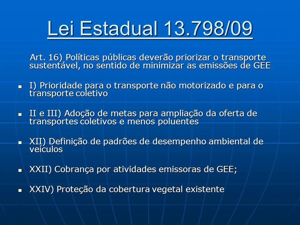 Lei Estadual 13.798/09 Art. 16) Políticas públicas deverão priorizar o transporte sustentável, no sentido de minimizar as emissões de GEE Art. 16) Pol
