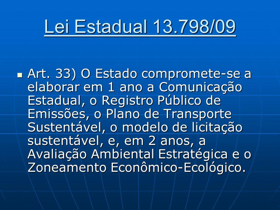 Lei Estadual 13.798/09 Art. 33) O Estado compromete-se a elaborar em 1 ano a Comunicação Estadual, o Registro Público de Emissões, o Plano de Transpor