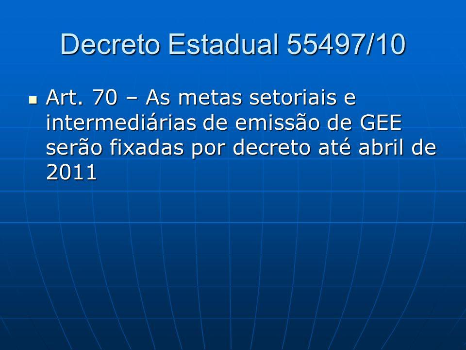 Decreto Estadual 55497/10 Art. 70 – As metas setoriais e intermediárias de emissão de GEE serão fixadas por decreto até abril de 2011 Art. 70 – As met