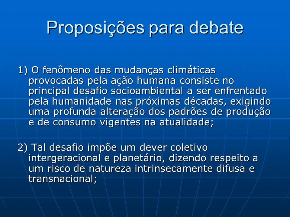 Proposições para debate 1) O fenômeno das mudanças climáticas provocadas pela ação humana consiste no principal desafio socioambiental a ser enfrentad